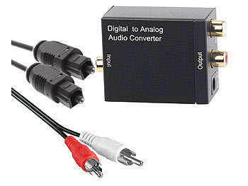 Audio-Konverter Digital (Toslink/Koaxial) zu Analog (Cinch) mit Kabel