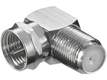 Sat-Kabel-Adapter F-Stecker auf F-Buchse, 90° abgewinkelt, schraubbar