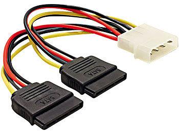 Strom-Adapterkabel für SATA-Festplatten (Molex auf 2x SATA) ca. 15cm