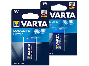 Longlife Power Batterie, Typ 9V/E-Block / 6LR3146, 9 Volt 2er-Set