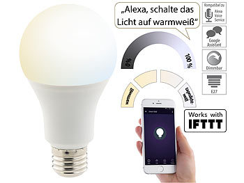 WLAN-LED-Lampe, für Alexa, Siri & Google Assistant, E27, 1.050 lm, CCT