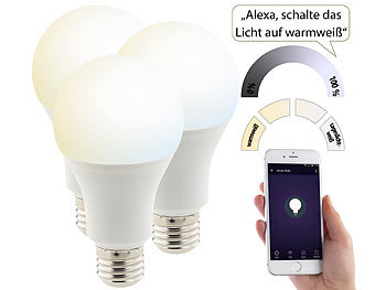 3er-Set WLAN-LED-Lampen, für Amazon Alexa & Google Assistant, E27, CCT