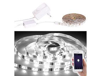 WLAN-LED-Streifen, weiß, 2 m, Amazon Alexa & Google Assistant komp.