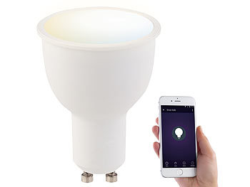 WLAN-LED-Lampe GU10, Alexa Voice Service-komp., KW/WW, 4,5 Watt, A+