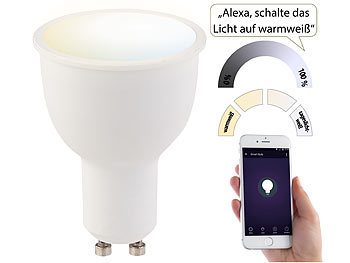 WLAN-LED-Lampe, komp. zu Amazon Alexa & Google Assistant, GU10, weiß