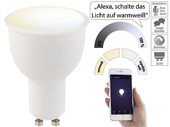 WLAN-LED-Lampe, komp. zu Amazon Alexa & Google Assistant, GU10, CCT