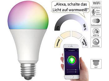 WLAN-LED-Lampe für Amazon Alexa & Google Assistant, E27, RGB, CCT, 9 W