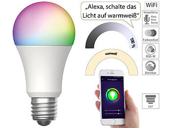 WLAN-LED-Lampe, für Amazon Alexa und Google Assistant, E27, RGBW, 15 W