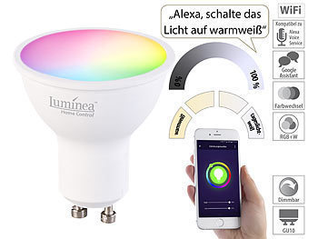 WLAN-LED-Spot für Amazon Alexa & Google Assistant, GU10, RGB, CCT, 5 W