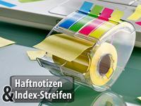 PEARL Merkzettel 4er-Set Haftnotizen-Spender je mit 10-m-Rolle /& 80 Index-Haftstreifen Haftstreifen-Block